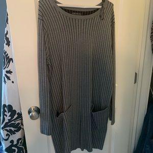 Gray Pin Striped Sweater Dress